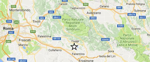 Scossa di terremoto in Ciociaria